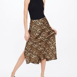 Zara leopard satin skirt sz M